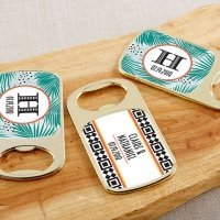 Personalized Tropical Chic Gold Bottle Opener Favors