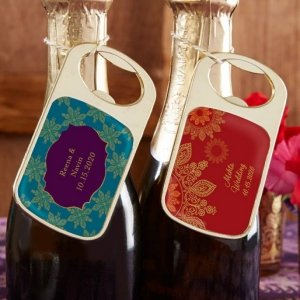 Personalized Indian Jewel Gold Bottle Opener Favors image