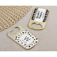 Personalized Modern Classic Gold Bottle Opener Favors