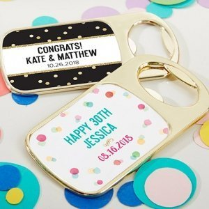 Personalized Party Time Gold Bottle Opener Favors image