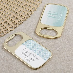 Seaside Escape Personalized Gold Bottle Opener Favors image