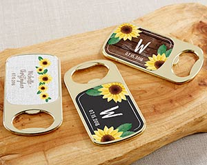 Personalized Gold Bottle Opener - Sunflower image