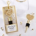 Gold Glitter Heart Bottle Stopper Favors