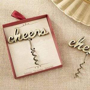 Cheers Antique Gold Corkscrew Favor image