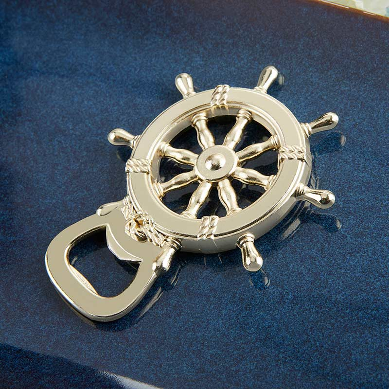 Gold Nautical Ship Wheel Bottle Opener image
