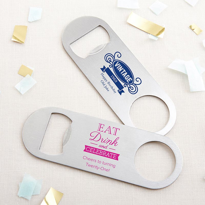 Personalized Birthday Silver Oblong Bottle Opener image