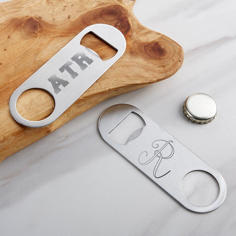 Personalized Engraved Silver Oblong Bottle Opener image