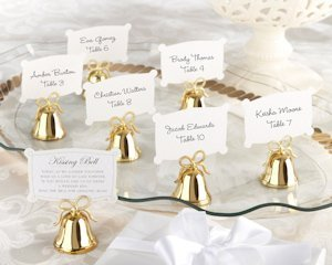 Gold Kissing Bell Place Card Holders (Set of 24) image
