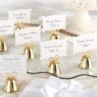 Gold Kissing Bell Place Card Holders (Set of 24)