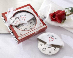 'Slice of Love' Pizza Cutter Wedding Favors image