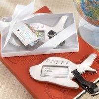 Bon Voyage Silver-Finish Airplane Luggage Tags