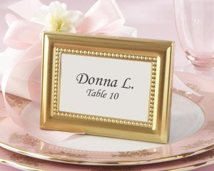 Beautifully Beaded Gold Place Card Frames image