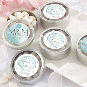 Personalized Beach Tides Silver Round Candy Tin (Set of 12) image