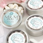 Personalized Beach Tides Silver Round Candy Tin (Set of 12)