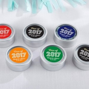 Personalized Class of 2017 Silver Candy Tins (Set of 12) image
