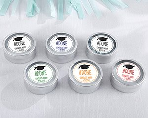 Personalized # Done Silver Round Graduation Candy Tins (Set image