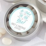 Personalized 'He Asked She Said Yes' Silver Candy Tins