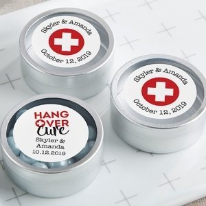 Personalized Hangover Cure Silver Candy Tins (Set of 12) image