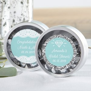 Personalized Something Blue Silver Round Candy Tin (Set of 1 image