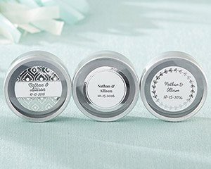 Personalized Silver Foil Silver Round Candy Tin (Set of 12) image