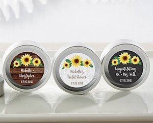 Personalized Sunflower Silver Round Candy Tins (Set of 12) image