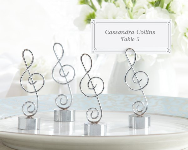 silver finish musical place card holders set of 4