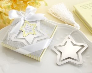 Silver Metal Star Shaped Bookmark with White Silk Tassel image