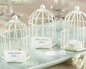 Spring Song Bird Cage Tealight Place Card Holder Favors image