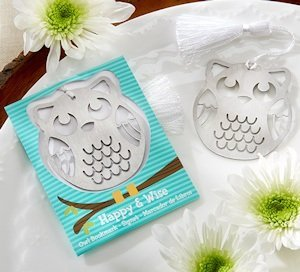 Happy & Wise Brushed Metal Owl Bookmark image