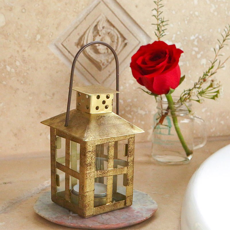 Vintage Antique Gold Distressed Small Lantern image