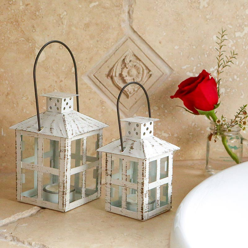 Vintage White Distressed Small Lantern image
