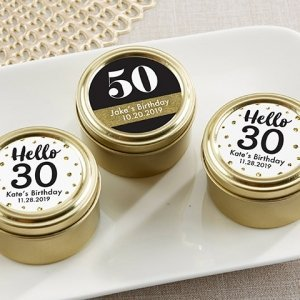 Milestone Birthday Personalized Gold Round Candy Tin Favors image