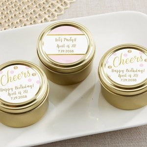 Birthday For Her Personalized Gold Candy Tin (Set of 12) image