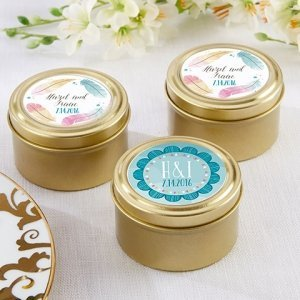 Personalized Boho Design Gold Round Candy Tins (Set of 12) image