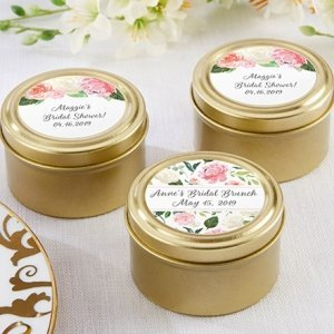 Personalized Bridal Brunch Gold Round Candy Tin (Set of 12) image