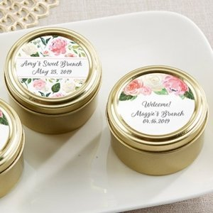 Personalized Floral Brunch Gold Round Candy Tin (Set of 12) image