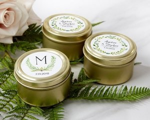 Personalized Botanical Garden Gold Round Candy Tins (Set of image