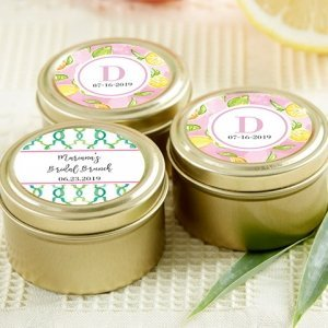Cheery and Chic Personalized Gold Round Candy Tins (Set of 1 image