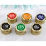 Personalized Class of 2017 Gold Round Candy Tin (Set of 12)