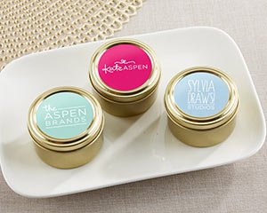 Personalized Gold Round Candy Tin - Custom Design (Set of 12 image