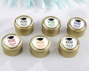 Personalized #Done Gold Round Graduation Candy Tins (Set of image