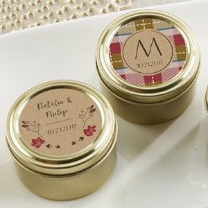 Personalized Fall Design Gold Round Candy Tins (Set of 12) image