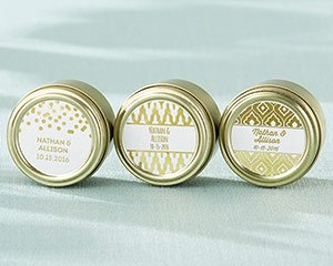 Personalized Gold Foil Gold Round Candy Tin (Set of 12) image