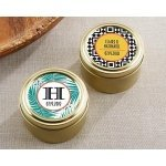 Personalized Tropical Chic Gold Round Candy Tins (Set of 12)
