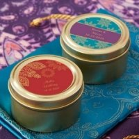 Personalized Indian Jewel Gold Round Candy Tins (Set of 12)
