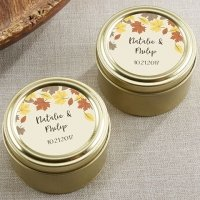 Personalized Fall Leaves Gold Round Candy Tins (Set of 12)