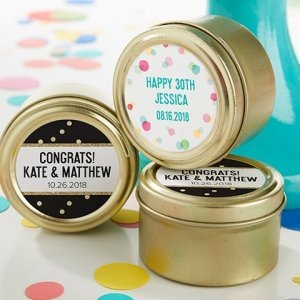 Personalized Party Time Gold Round Candy Tins (Set of 12) image