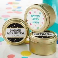Personalized Party Time Gold Round Candy Tins (Set of 12)