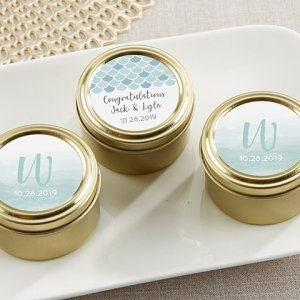 Seaside Escape Personalized Gold Round Candy Tin (Set of 12) image