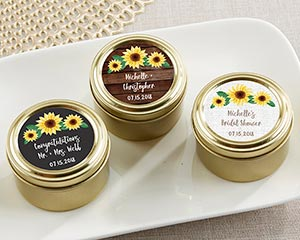 Personalized Sunflower Gold Round Candy Tins (Set of 12) image